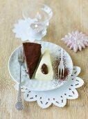 Chocolate tart and parfait with plum sauce