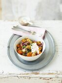 Lebanese chicken with red onions and lentils