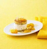 Layered ginger cream with candied kumquats