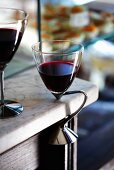 Glasses of red wine in a restaurant