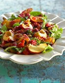 Fried pepper salad with nectarines and raspberry dressing