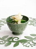 Pea risotto with green beans, Parmesan and avocado