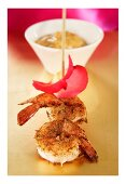 Prawn skewer with curry mayonnaise