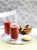 Raspberry and banana frappees with toast and butter