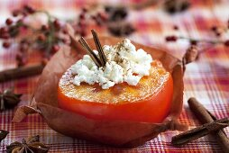 Japanese persimmon stuffed with cream cheese, plum wine and cinnamon