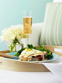 Toast with ham, Cheddar and a fried egg