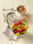 Pepper sticks with a gorgonzola dip with a lentil dip