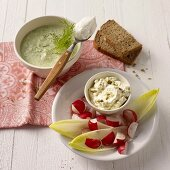 Chicory and radishes with curried cream cheese and herb soup