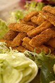 Fish fingers on a bed of salad (dish for a pirate-themed party)