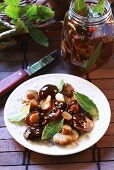 Pickled forest mushrooms with bay leaves