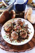 Medallions of lamb with chopped ceps