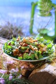 Green beans with chanterelles and parsley