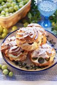 Cream puffs filled with gooseberries and cream