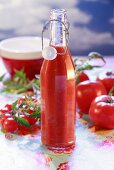 Home-made tomato ketchup in bottle