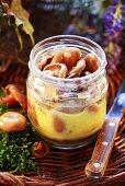 Bottled tawny milkcaps in screw-top jar