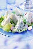 Soft cheese and celeriac mousse on lettuce