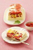 Strawberry and peach terrine