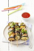 Barbecued chicken and courgette kebabs