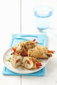 Turkey rolls stuffed with red peppers, courgettes and carrots