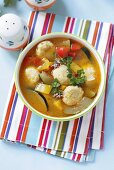 Vegetable soup with cheese dumplings (Bulgaria)