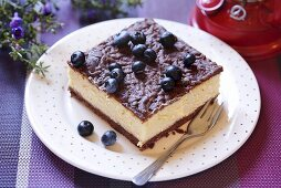 Piece of blueberry cheesecake