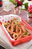 King prawns in basket