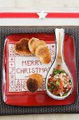 Toast and tomato salsa on festive plate