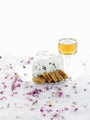 Roquefort cheese with spiced bread and port wine
