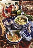 Shrimp stew, chicken & lettuce soup (Tom Yam Gung, Gaeng Jued Gai)