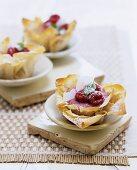 Raspberry cream in filo pastry shell