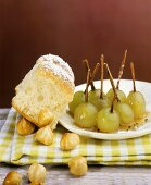Filled Buchteln (sweet rolls) with honeyed grapes