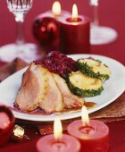 Christmas goose with red cabbage