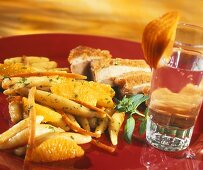 Roast duck breast with oranges and potato noodles