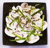 Button mushroom salad with truffle cream