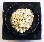 Aubergine cream in a small bowl
