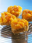 Heart-shaped vanilla sponge cakes topped with mandarin oranges