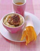 Veal burger on corn porridge