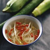 Bean sprout soup with wolfberries