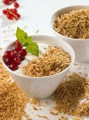 Yoghurt with dried soya and redcurrants