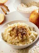 Rice pudding with apple and cinnamon sugar