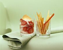 Strawberry and asparagus compote with crackers