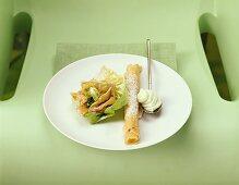 Palatschinken (thin pancake) with salad