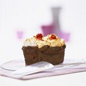 Chocolate cherry cake with almond meringue