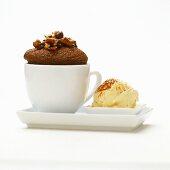 Chocolate pecan muffin with dates and vanilla ice cream