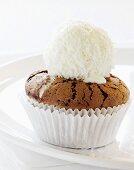 Sunken chocolate bun with coconut ice cream