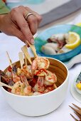 Skewered shrimps with chili and garlic butter