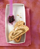 Two slices of nut plait (Striezel) & blueberry & vodka jam