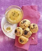 Milk rolls and apricot and pistachio jam