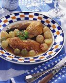 Guinea-fowl with grapes