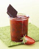 Strawberry jam with thin chocolate mint